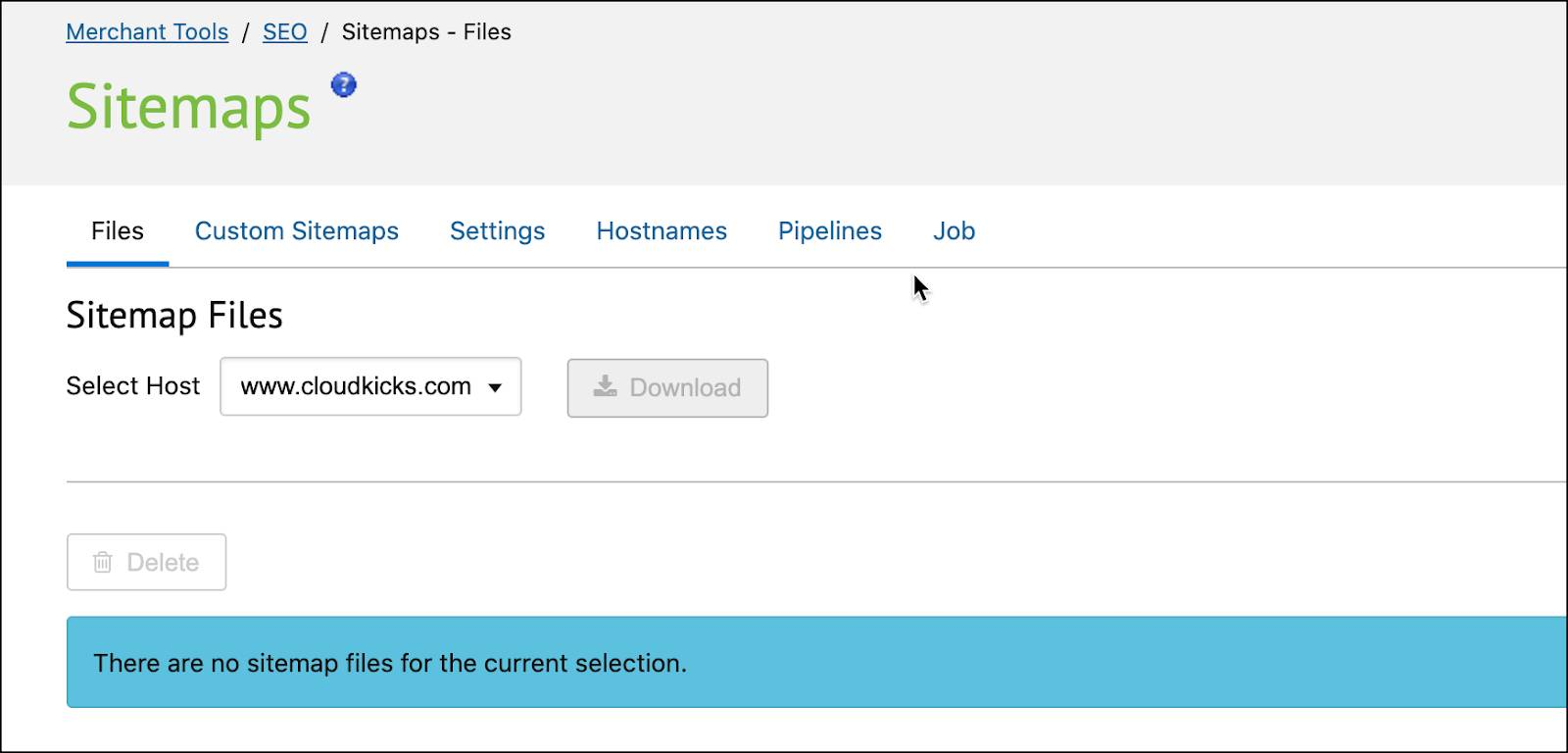In Business Manager, select a hostname for SEO sitemaps.