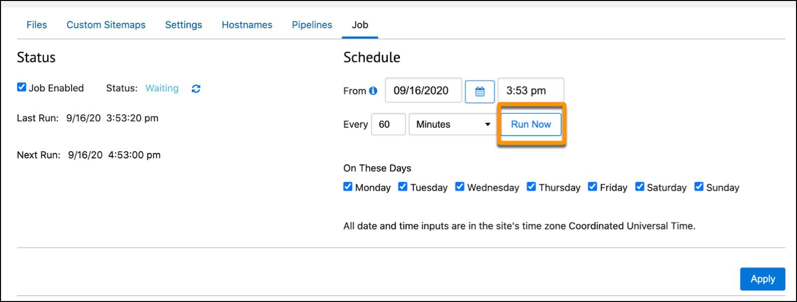 In Business Manager, run a job manually or schedule it.