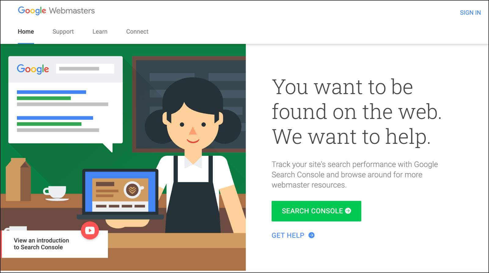 Google Webmaster Tools page