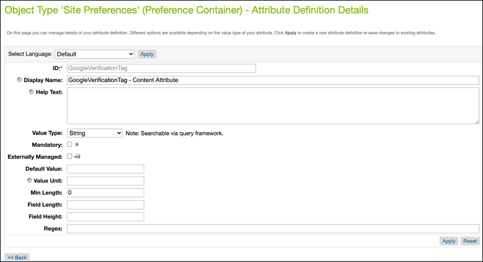 In Business Manager, look at the GoogleVerificationTag site preference attribute.