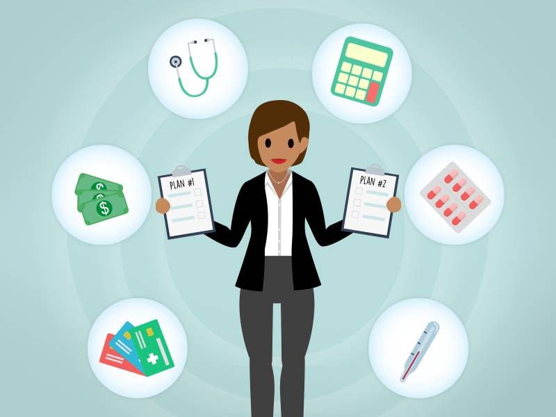 Image of a person comparing two healthcare plans surrounded by tools for managing risk, such as a calculator, money, stethoscope, thermometer, pills, and a prescription.