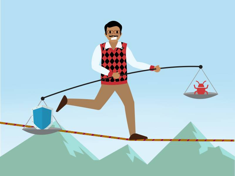 A person balances on a tightrope using a pole with a scale holding a shield on one end, and a vulnerability bug on the other.
