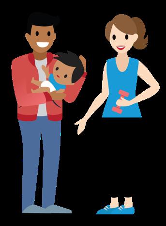 Ein Vater hält ein Baby im Arm, während seine Partnerin sich gerade fit hält