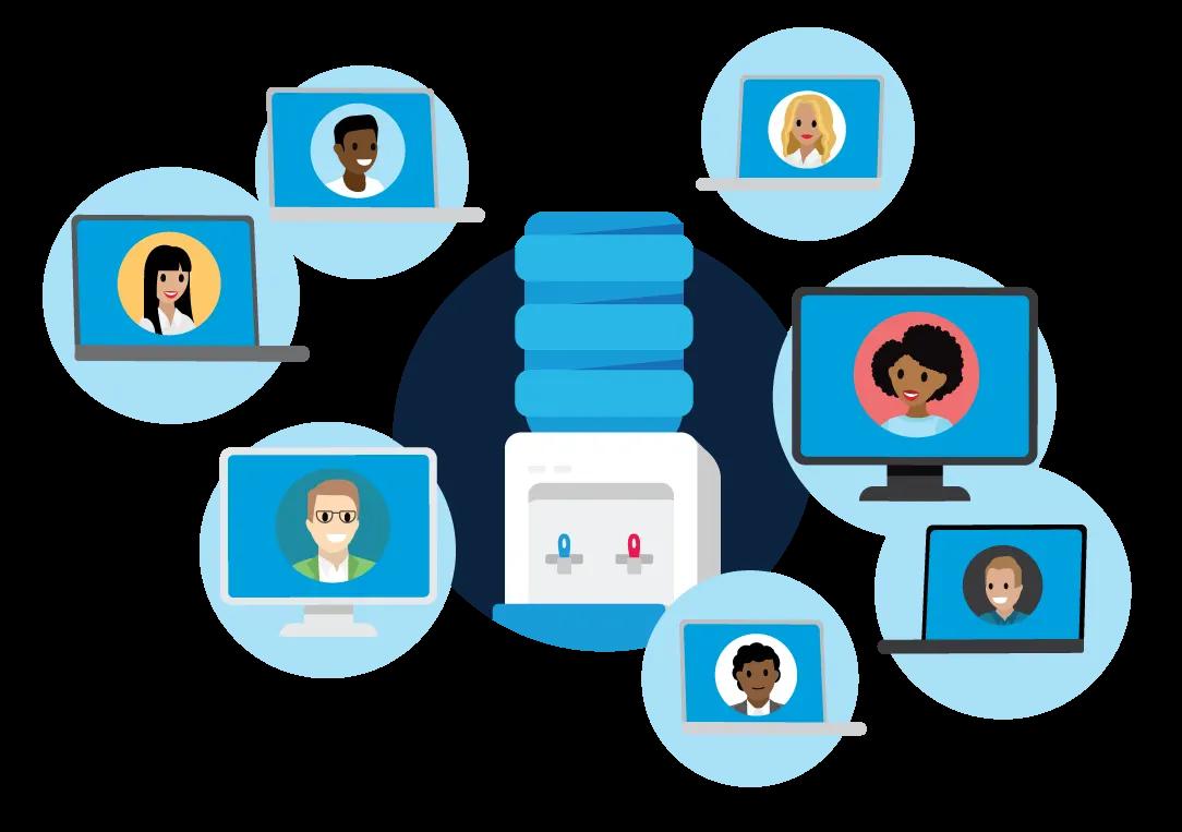 Ein virtueller Chat zum Thema Wasserspender, an dem jeder Kollege an seinem eigenen Computer teilnimmt