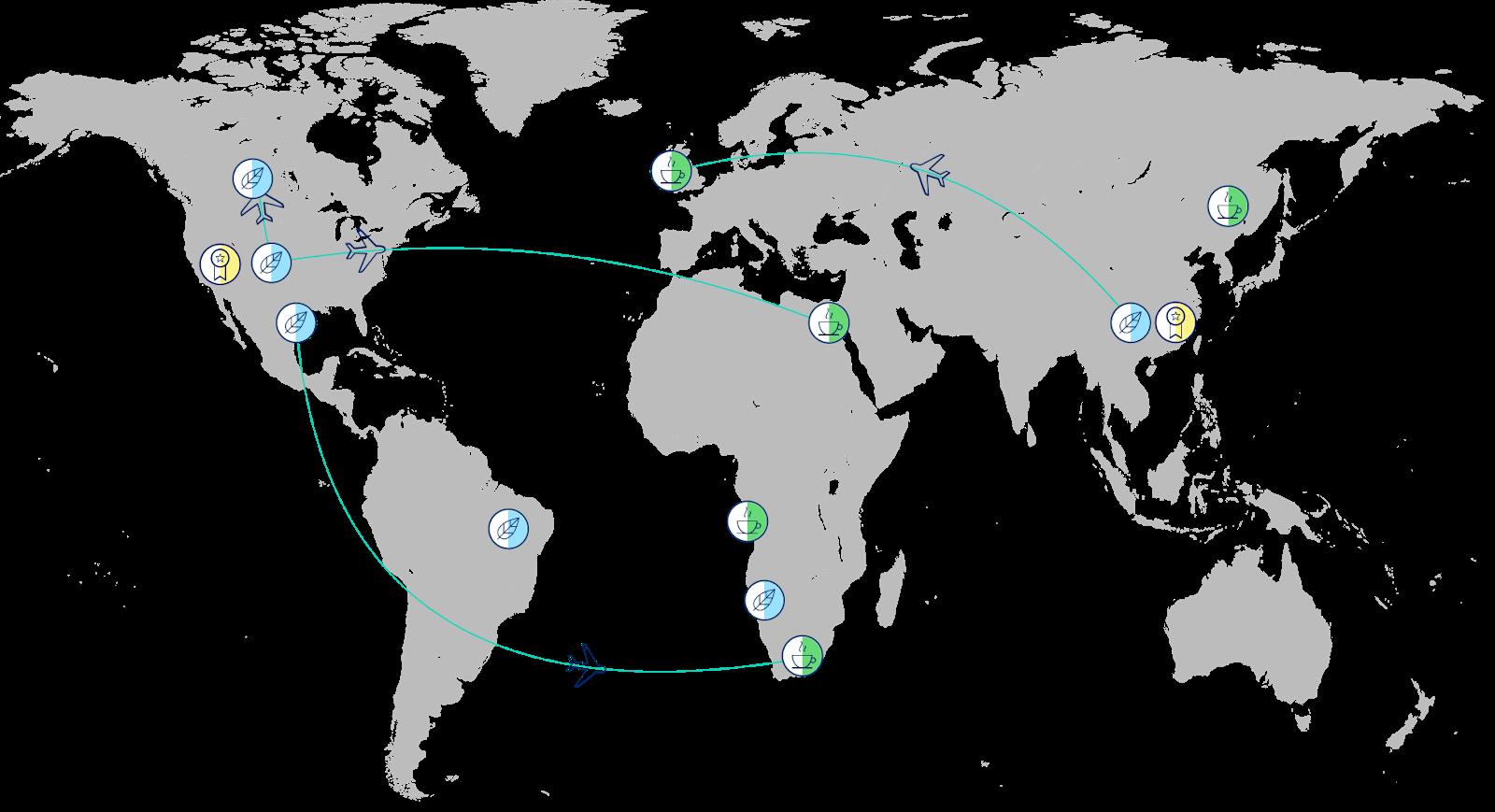 栽培者を表すコーヒー豆、運送会社を表す飛行機、購入者を表すコーヒーカップのアイコンとそれらが線でつながれた世界地図。
