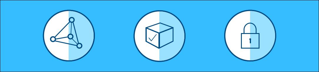 分散型、パーミッション型でセキュアであることの価値がそれぞれ、ノードによる多角形、チェックマークのついた立方体、鍵で表されています。