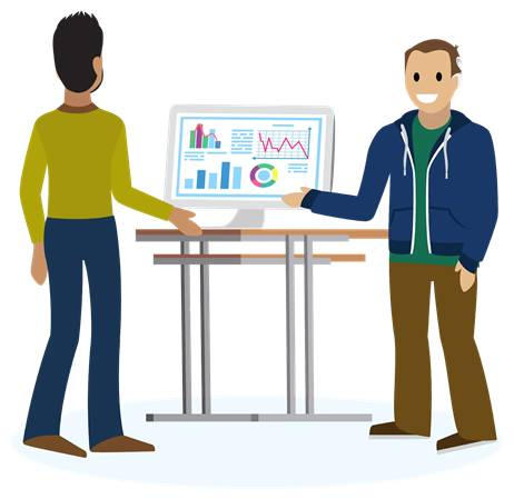 Image of two people in front of a computer symbolizing business analysts fixing something