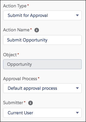 Uma ação Enviar para aprovação