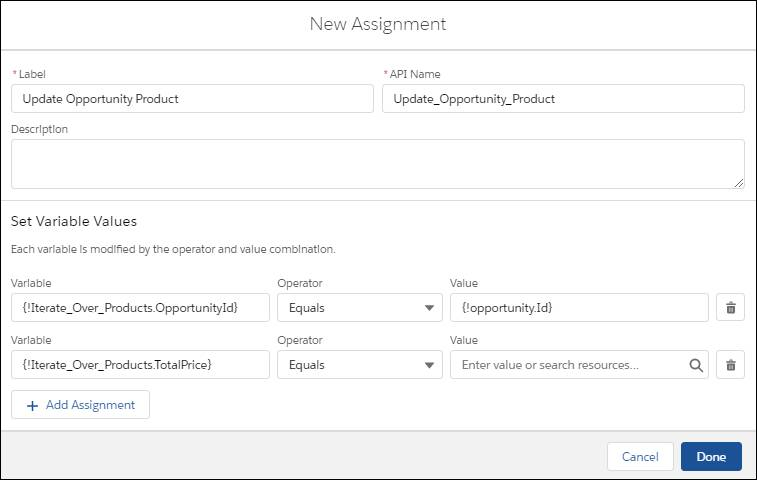 Flow assignments that set the loop variable's Opportunity ID and Total Price fields