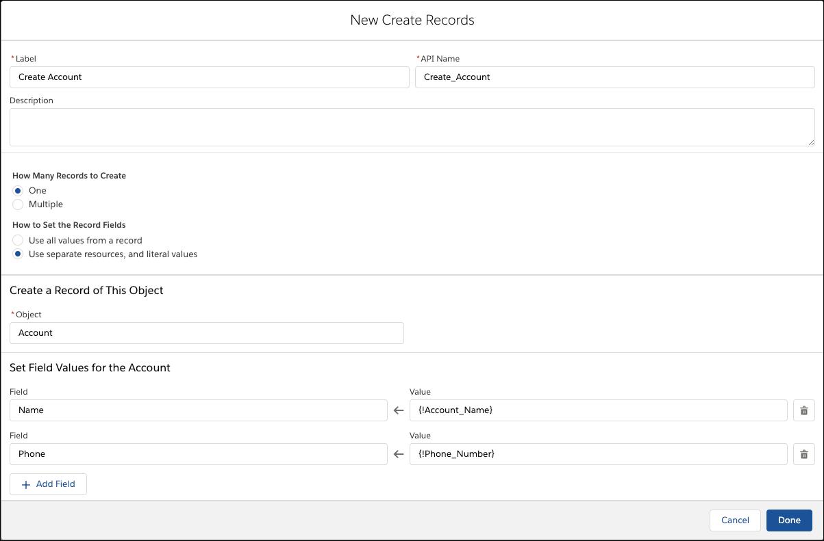 Screenshot of the Edit Create Records screen