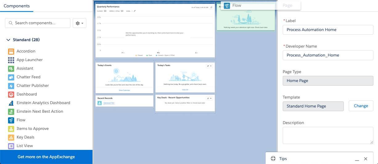 Operación de arrastre del componente Flujo a una página Inicio