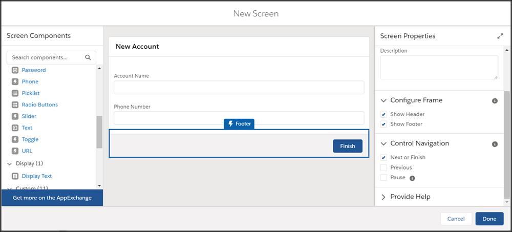 Captura de pantalla de Componentes de pantalla