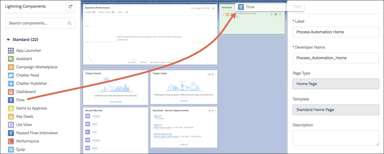 glisser le composant flux vers une page d accueil