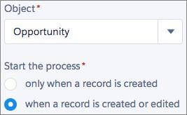 Panel Seleccionar objeto y Especificar el momento en que iniciar el proceso