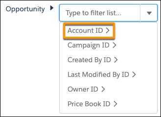 [商談] > [取引先 ID] を選択します。
