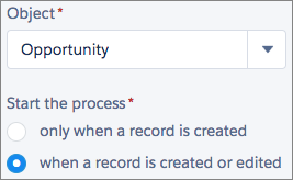 Painel Escolher objeto e especificar quando o processo deve ser iniciado