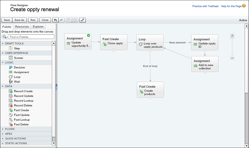 A sample business process configured in Cloud Flow Designer