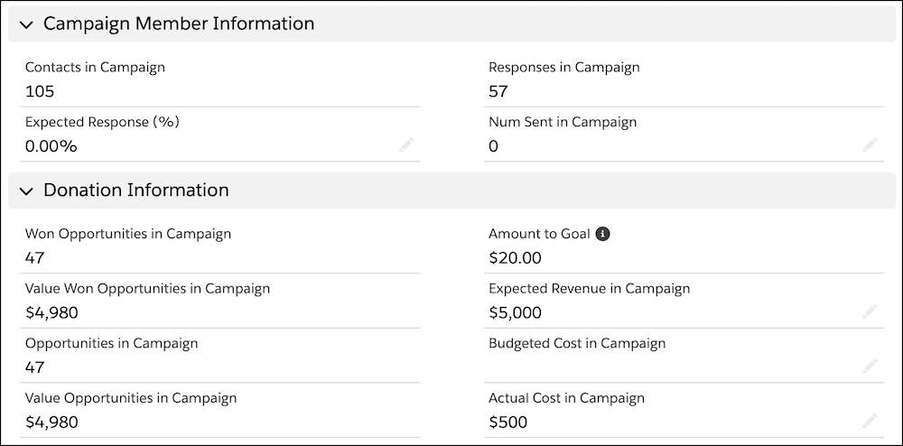 The Campaign Member Information and Donation Information sections and related fields