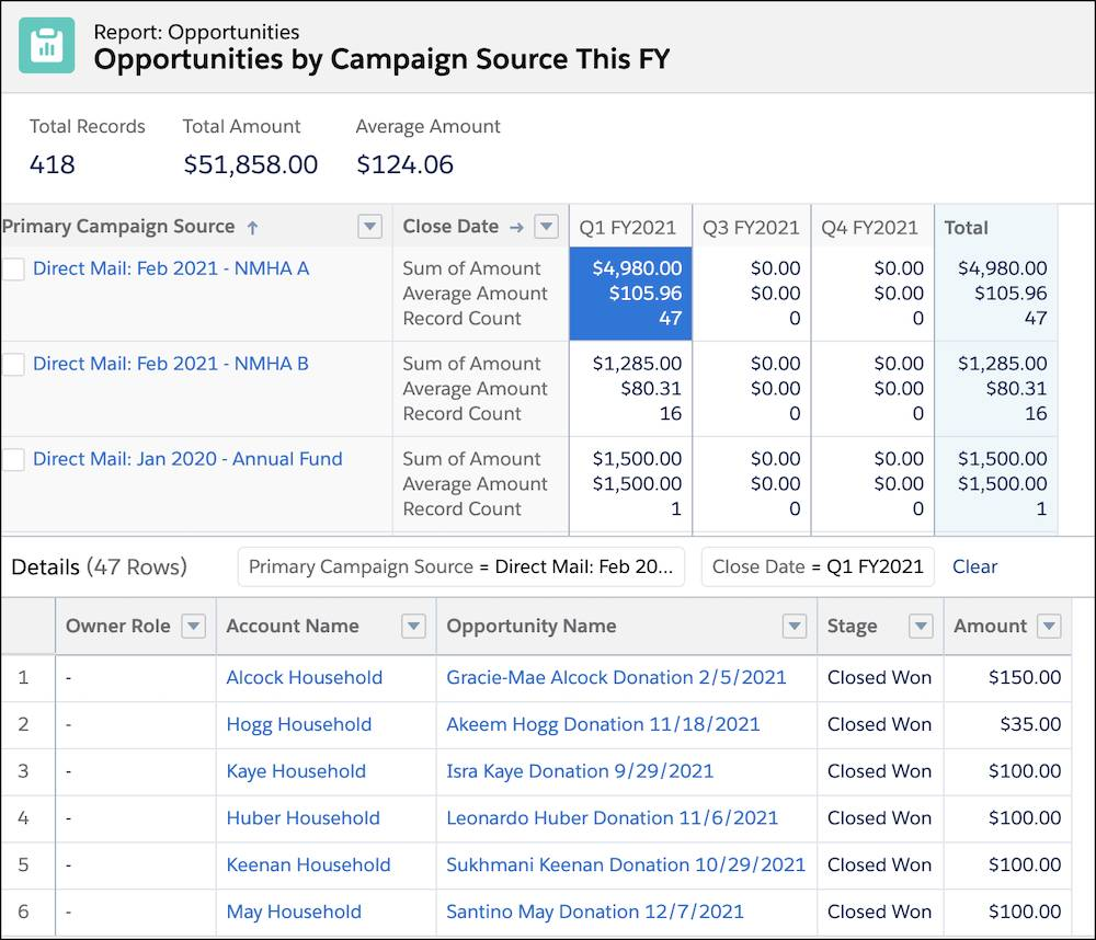 An Opportunities report type by campaign by quarter with details for one campaign in the first quarter