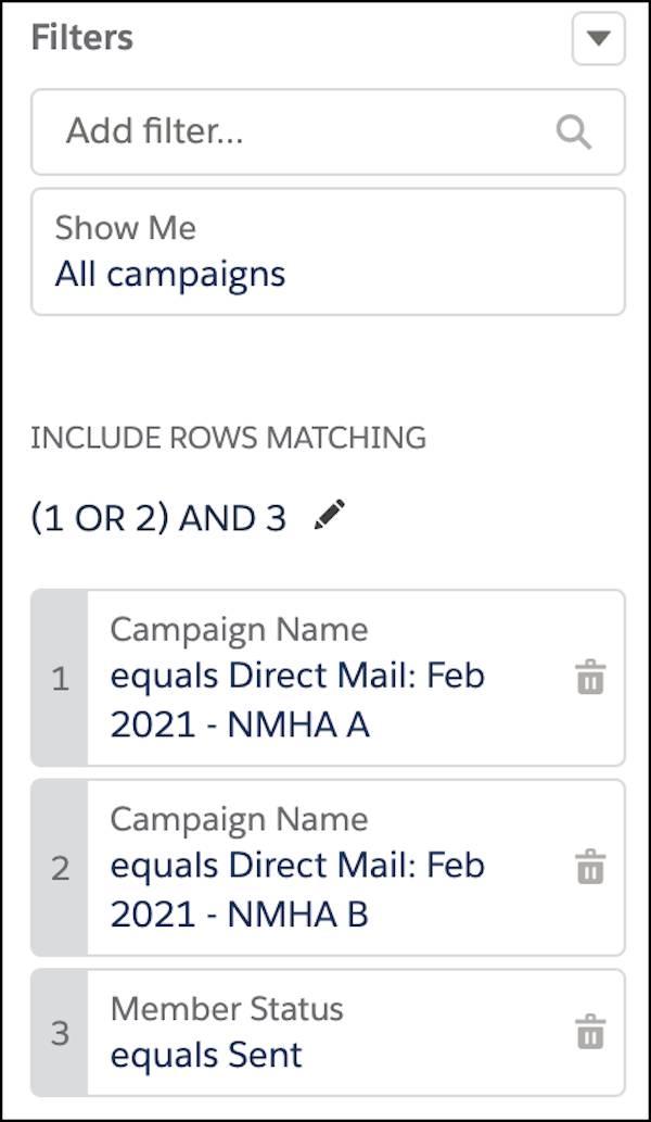 いずれかのキャンペーンのメンバーかつ [メンバーの状況] が [送信済み] の検索条件ロジック