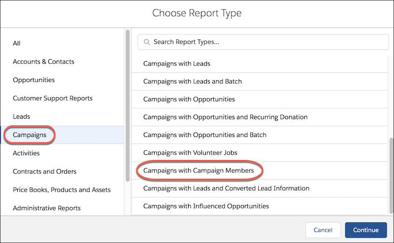 Choose Report Type form