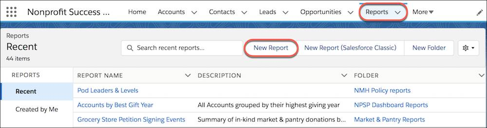 Reports tab and the New Report button