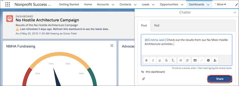 Chatter compose window within a dashboard