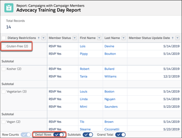 Row Counts, Detail Rows, Subtotals, and the Grand Total toggles at the bottom of a report