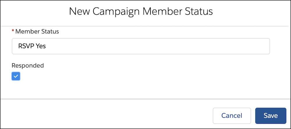 [New Campaign Member Status (キャンペーンメンバーの新しい状況)] ページで強調表示されている [レスポンスあり] チェックボックス