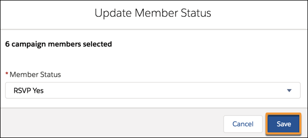 The Update Member Status window with a Member Status of RSVP Yes selected.