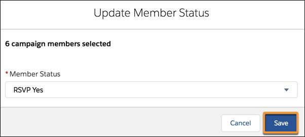 [メンバーの状況] で [RSVP Yes (出欠確認: はい)] が選択された [メンバーの状況の更新] ウィンドウ。