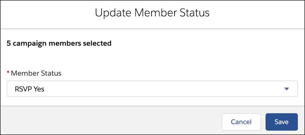 [メンバーの状況] で [RSVP Yes (出欠確認: はい)] が選択された [メンバーの状況の更新] ウィンドウ