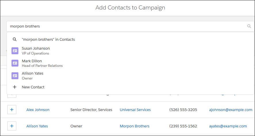 [キャンペーンメンバー] 関連リストから取引先責任者を追加する場合、Margaret は取引先ごとに取引先責任者を検索できます。