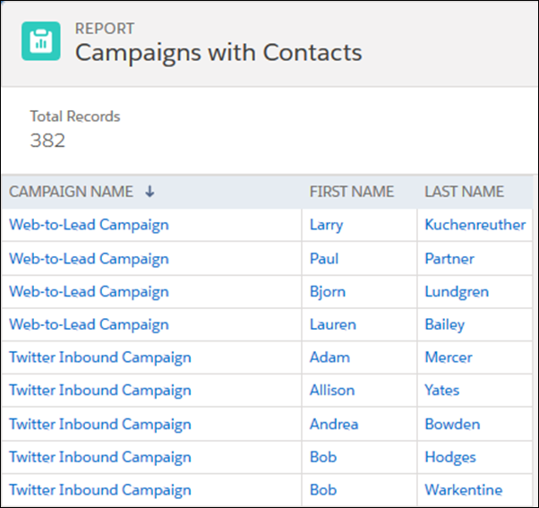 Campaigns with Contacts レポート