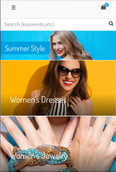 Summer style content slot, showing women's dresses and women's jewelry as clickable categories