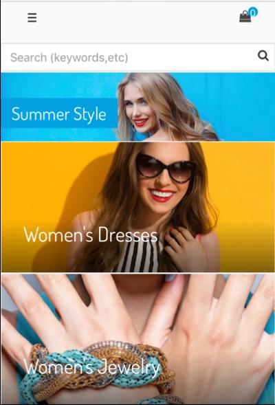 「Summer Style (サマースタイル)」というコンテンツスロットに、レディースドレスとレディースジュエリーがクリック可能なカテゴリとして表示されています。