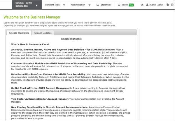 Business Manager のランディングページ