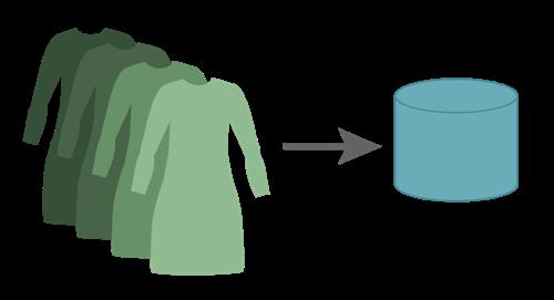 左側にドレス、右向き矢印、右側にデータベース