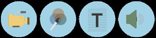 コンテンツアセットには、動画、グラフィック、テキスト、音声が含まれる