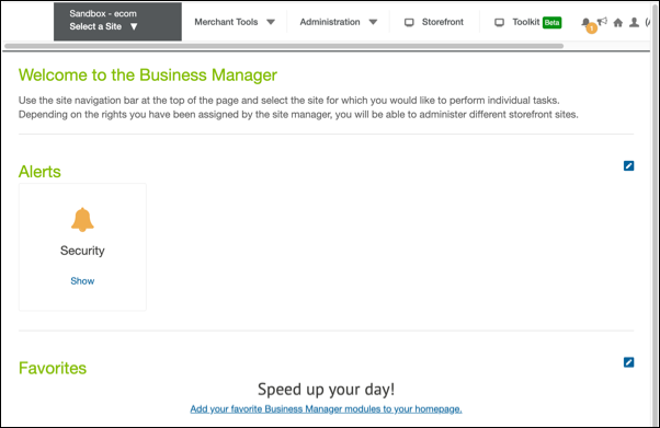 The Business Manager Landing page