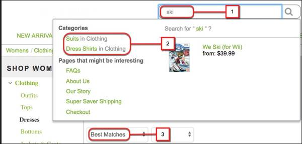 Keyword search field, search suggestion, and sorting search results