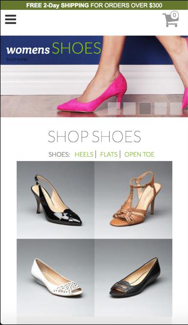 レディースの靴を販売するストアフロント
