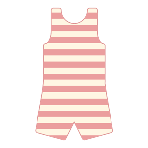 A striped bathing suit