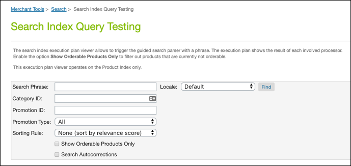 Business Manager - Search Index Query         Testing
