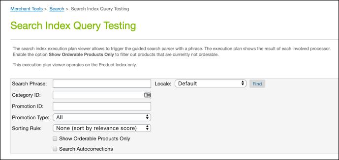 BusinessManager- Test de requête d'index de recherche