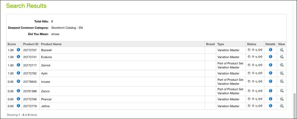 Business Manager – Lista de produtos dos resultados do teste de consulta ao índice