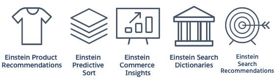 Commerce Cloud Einstein features icons
