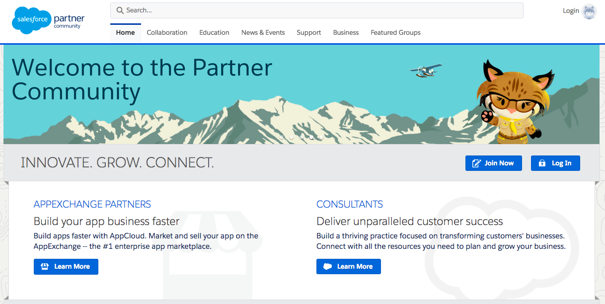The Partner Community homepage in Salesforce is a great example of using your portal as part of your promotion plan.