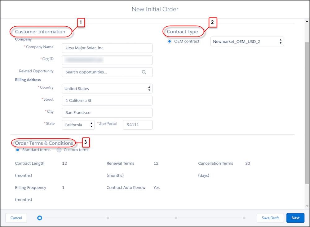 [New Initial Order (新規初期注文)] フォームのページ 1。[Customer Information (お客様情報)]、[Contract type (契約種別)]、[Order Terms & Conditions (注文契約条件)] にコールアウトが付いています。