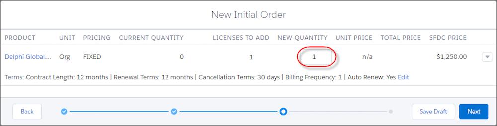 [New Initial Order (新規初期注文)] フォームのページ 3。[Product Quantity (製品数量)] にコールアウトが付いています。